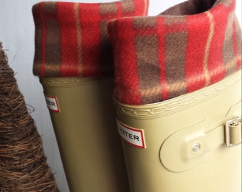 Red and Brown Plaid Cuff with  Brown Sock,Fleece Rain Boot Liners,Boot Cuff, Boot Topper, Boot Accessory,Sz Sm/Med 6-8 or Med/Lg 9-11