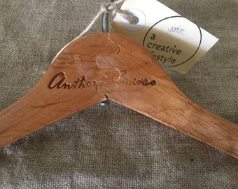 Fabulous VINTAGE Anthony Squires wooden coat hanger plus wooden skirt hanger. Vintage home / decor