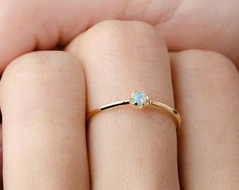 Lab Opal Ring, Gold Vermeil, Sterling Silver, Yellow Moon Opal Midi Ring, Hand Made Minimalist Jewelry, Gift for Mom, Lunaijewelry RNG040O03