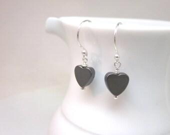 Hematite heart earrings - sterling silver earrings - small black heart earrings - metallic earrings - minimalist earrings - heart dangles