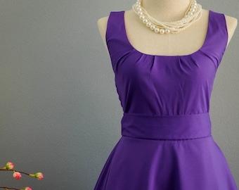 Christmas SALE My Lady Royal Purple Dress Spring Summer Dress Purple Party Dress Purple Party Tea Dress Bridesmaid Dress Vintage Design Dres