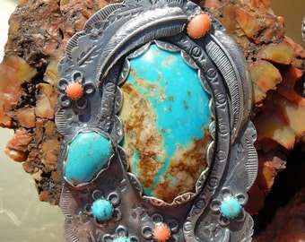 Southwestern style Sterling Silver Mountain Flowers Snake Pendant Turquoise Coral Pendant