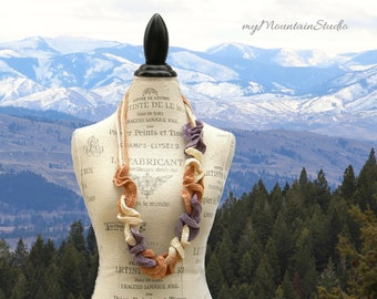 Infinity Loops Fashion Scarf in Plum Natural and Copper. Handmade in Montana. Ready to Ship.