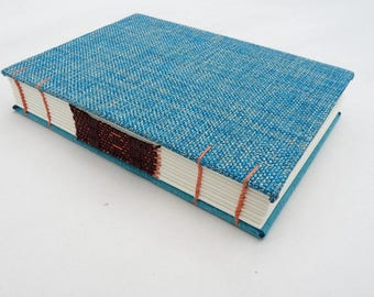 Turquoise, blue, journal, Coptic, woven spine, notebook, faux suede