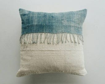 African Mud Cloth Pillow Cover with Fringe - Boho Indigo Pillows - Bohemian Pillows