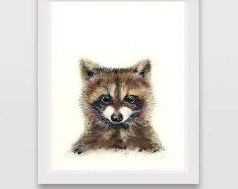 Raccoon Art Print Woodland Nursery Animals Wall Decor Forest Animals Friends Head Raccoons Prints Poster Picture Illustration Painting Baby