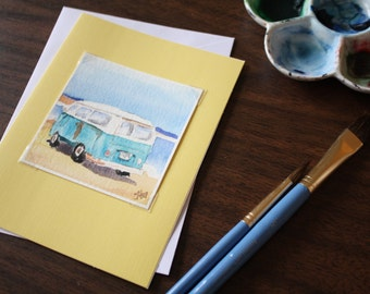 Miniature 3x3 Original Watercolor Note Card VW Bus on the Beach