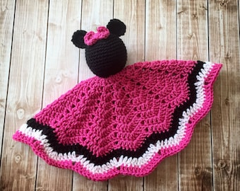 Minnie Mouse Inspired Lovey/ Security Blanket/ Soft Toy Doll/ Plush Toy/ Stuffed Toy Doll/ Amigurumi Doll/ Baby Doll-  MADE TO ORDER