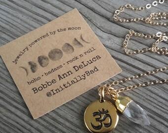 Gold Om and Mini Quartz Point Necklace
