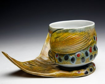 Fish Art Brown Trout Mug and Fish Tail Saucer ( Nature as Objects ) Gyotaku Trout Art