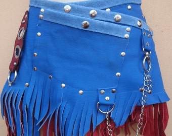 "20%OFF bohemian tribal bellydance fringed suede belt with stud detail.chain,2 pockets ...28"" to 36''"