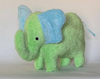 Stuffed Elephant Toy - Green and Blue Minky Plush Elephant - Elephant Toy -Nursery Decor - Baby Christmas Gift - Kids Christmas Gift