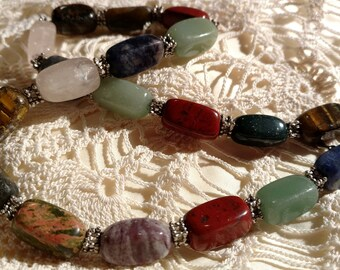 "Lovely 20"" Natural Stone Agate Necklace Tigers Eye Quartz etc."