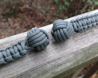 "Paracord Monkey Fist Keychain (3/4"" Chrome Steel Ball Core) Foliage Green Handwoven"