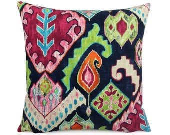 Dark Blue Colorful Southwestern Pillow Cover 18x18, 20x20, 24x24 Euro or Lumbar, Vibrant Marrakesh Ikat Pillow Cushion Cover, Taos Carnival