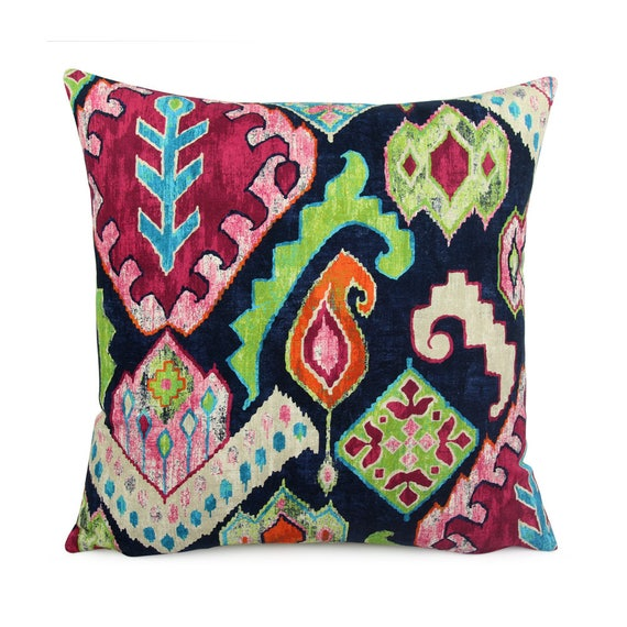 Dark Blue Colorful Southwestern Pillow Cover 18x18 20x20