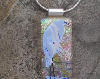 Heron Necklace Fused Dichroic Glass Heron Pendant