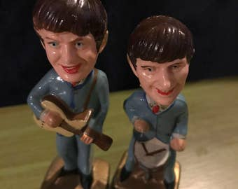 Vintage Beatles Bobbleheads. 1960's Beatles Cake Toppers. Set of Two. George and Ringo.