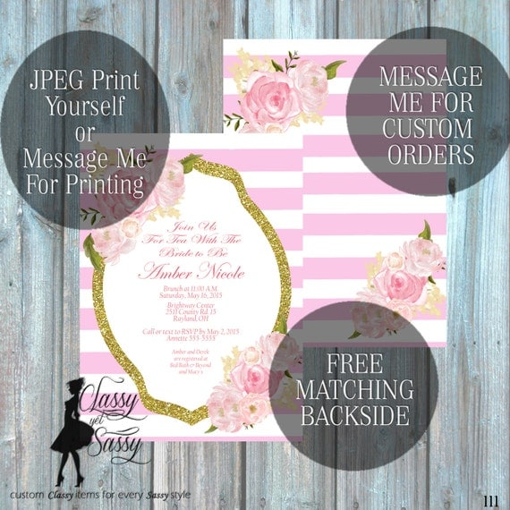 Bridal Shower invitation, Floer Invitation Classic Tea party Shower, Glitter and Pink Invitation, Tea pArty Luncheon Bridal Shower 111