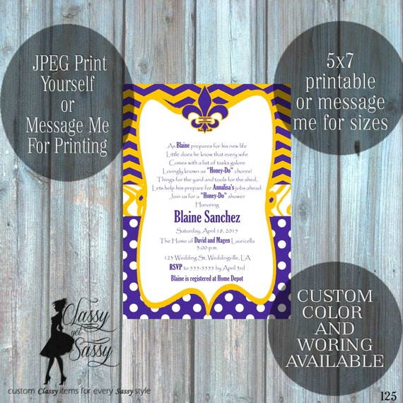 Honey-do Shower Invitation,LSU Honey-Do Wedding Shower Invitation, Couples Shower party Invitation 125