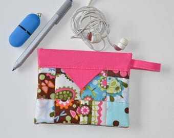 Pink Gear Pouch, Patchwork Cotton Snap Pouch, Fabric bag, Cable pouch