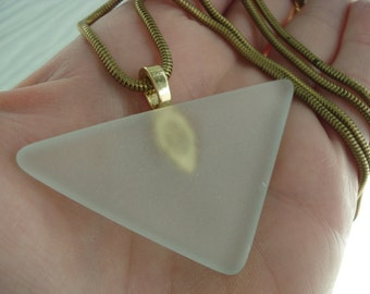 Art Deco Frosted Beach Sea Glass Lalique Inspired Triangle Pyramid Glass Pendant Gold Necklace