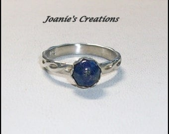 NEW PRICE***Blue Lapis With Pyrite Ring in Sterling Silver