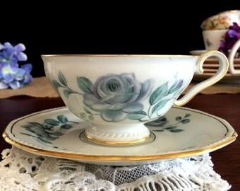 Vintage Teacup, Royal Tettau, Teacup and Saucer, Blue Roses, Germany 13802