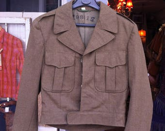 US WW2 Cropped Kaki Military Jacket 1950