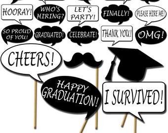 Graduation Photo Props, Printable Photo Booth Props, Speech Bubbles Party Props, Graduation Party Props - DP416