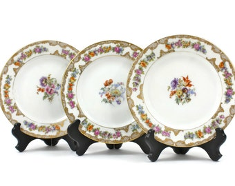 Dresden Dessert Plates - SET of 3, Gold Filigree Plates, Royal Bayreuth Plates, Bavarian China, Antique Floral Plates, c.1920s