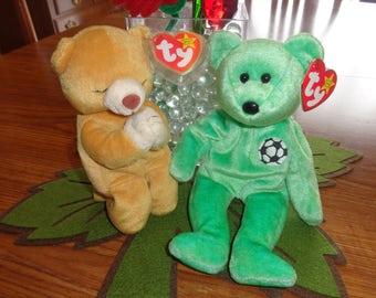 RARE! Retired Ty Beanie Babies Bears Praying Hope and Soccer Kicks
