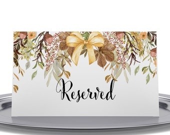 Reserved Sign, Thanksgiving Table Sign, Dinner Table Sign, Fall Wedding Signage, Reserved Seating - Package of 10, 2 x 3.5 inches