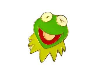 Vintage Kermit the Frog Lapel Pin, Enamel Kermit Pin