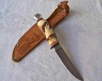 Vintage Hunter's Knife Baron Solingen Germany Original Case Made in USA Vintage 1980s