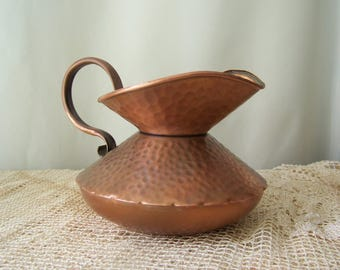 Vintage Gregorian Copper Pitcher Hammered Copper Finish Mid Century Hand Made Hammered Copper Pitcher Vintage 1960s