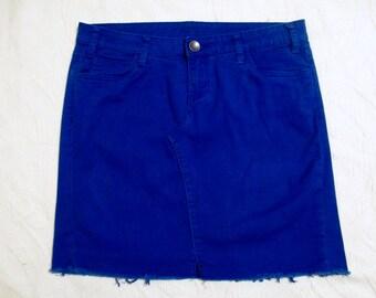 Royal Blue Mini Denim Skirt Repurposed Jeans, Texas Rangers dress, Chicago Cubs,  Kansas City Royals, OKC, Florida Gators, Buffalo Bills