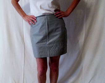 Gray Leather Mini Skirt, Vintage Leather Repurposed Game Day Skirt Tailgate in Style Ohio State, TCU Horned Frogs, Dallas Cowboys