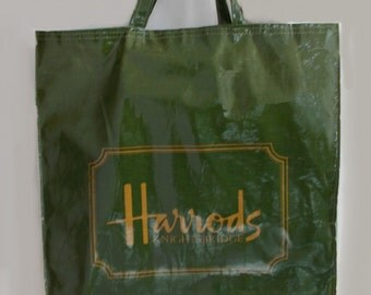 1980's HARRODS Green/Gold Shopping/Tote Bag