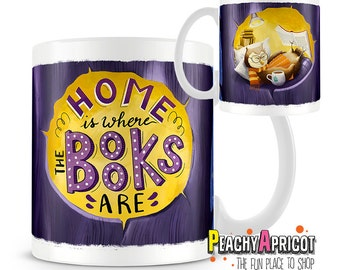 Home is where the books are - Book Lover Mug - Book mugs - Book Worm - Reading Pun  - Literary Mug - Reading Lover - I Love Books - Nerdy