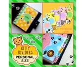SIZE: PERSONAL Kitty Dividers (Top or Side Tabs) Cute Kawaii Kitty Filofax Personal, Louis Vuitton MM Agenda, Kikki.K Medium Planner