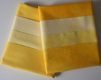 6 Fat Quarters, GOLDEN YELLOWS, Solids and Textured, Hand Dyed, Colorfast, Pre-Washed, Pre-Shrunk