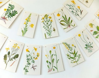 Floral Bunting. Spring Decoration. Summer Garland. Yellow Flowers. Wedding Banner. Paper Pennants