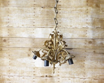 Vintage Chandelier - French Country - Paris Apartment - Hollywood Regency -