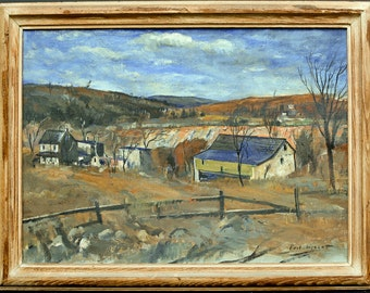 Antique 1933 Paul Wescott Oil Painting  Quarry Chester County PA Impressionist