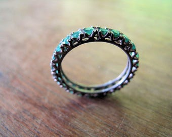 Emerald Ring-Guard Ring-Engagement Ring-Wedding Band-Eternity Ring-Sterling Silver, Size 9