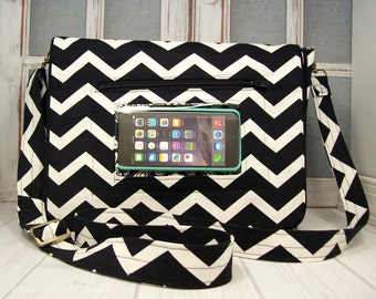 medium crossbody messenger bag • touchscreen pocket • custom order • Keep in Touch Messenger Bag™