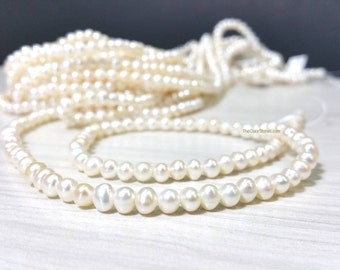 4 to 4.5 mm. Small White Potato Freashwater Pearl Beads - Seed Pearl - Full Strand (G5206W45)