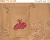 Sale Muslin Wedding Shower Party Favor Gift Pouches Adorned with Hot Pink Glitz