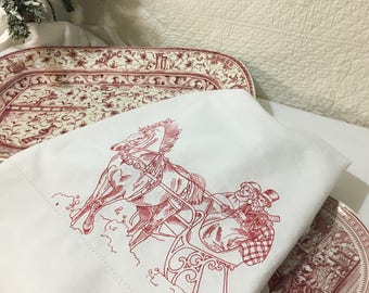 Embroidered and Hemstitched Tea Towel Flour Sack Christmas Redwork Quiltsy Handmade